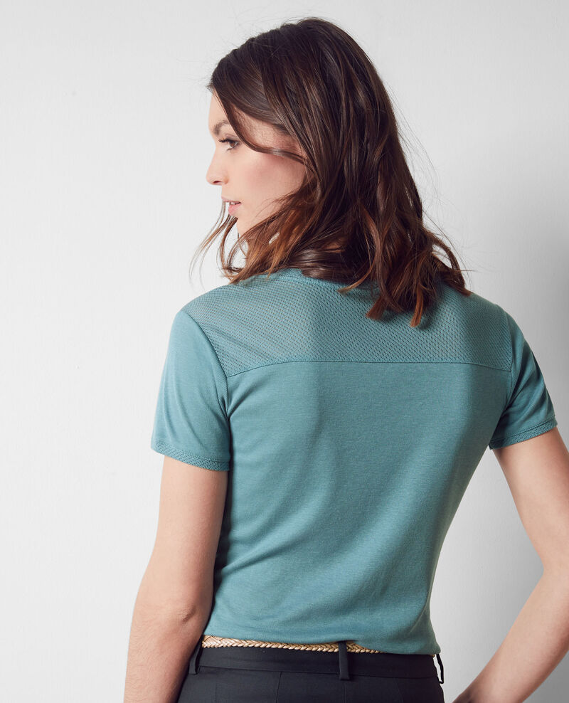 T-shirt with openwork details Bondi blue Colombia