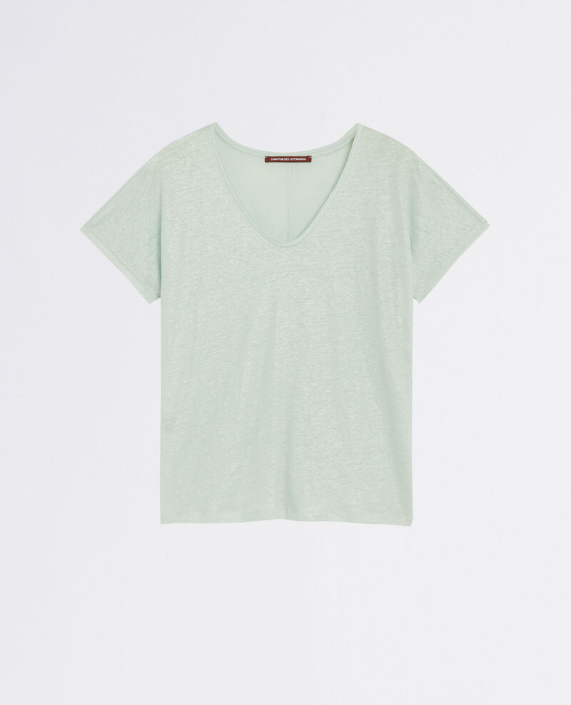 Sparkly linen t-shirt with lurex details Opaline City