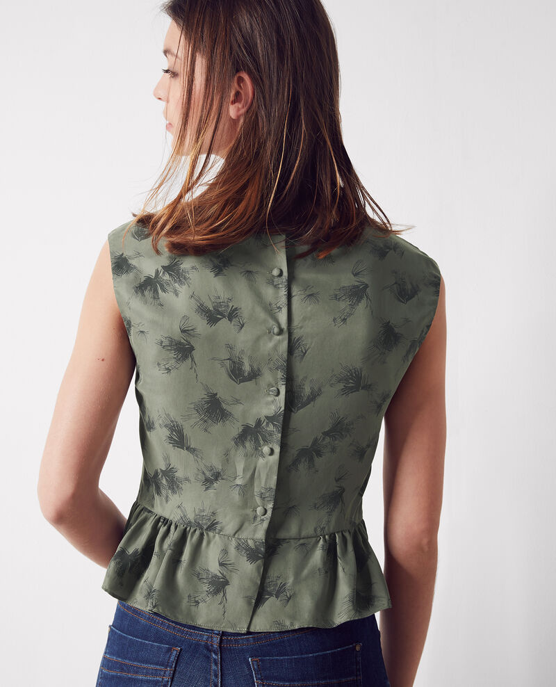 Frilly print blouse with buttons at the back Anemone kaki Cute