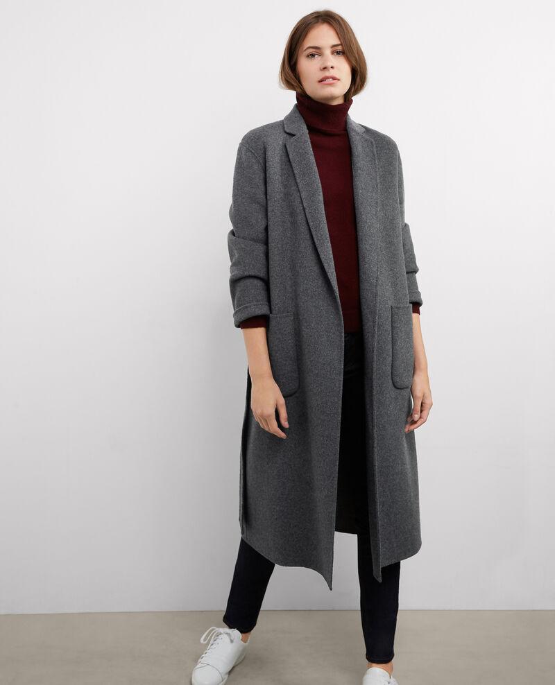 manteau oversize avec laine dark heather grey bille comptoir des cotonniers. Black Bedroom Furniture Sets. Home Design Ideas
