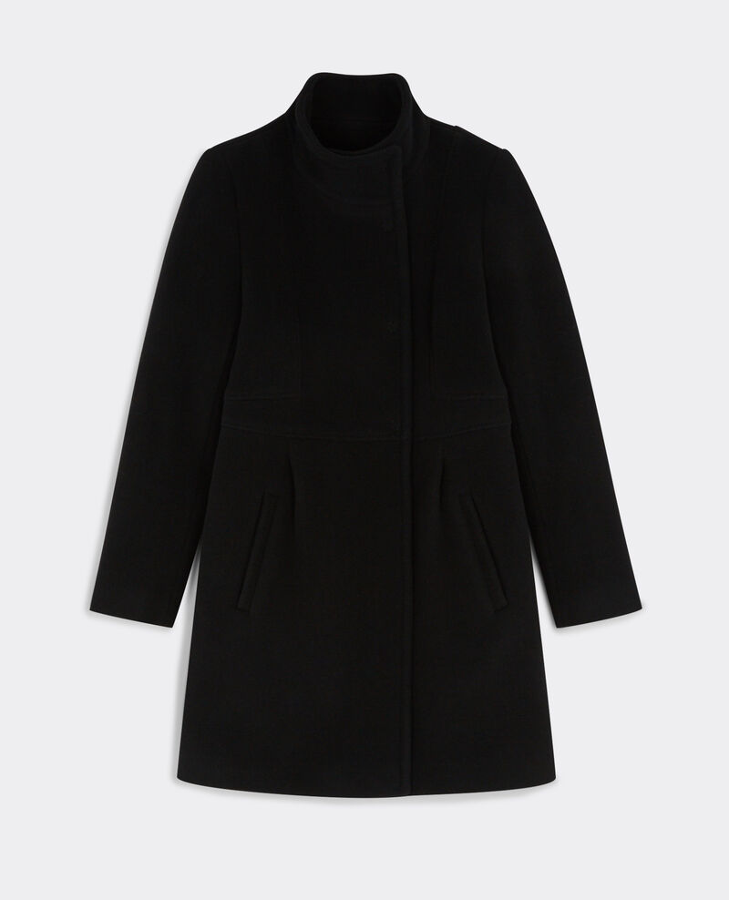 Manteau cintré en laine Noir Bimalu
