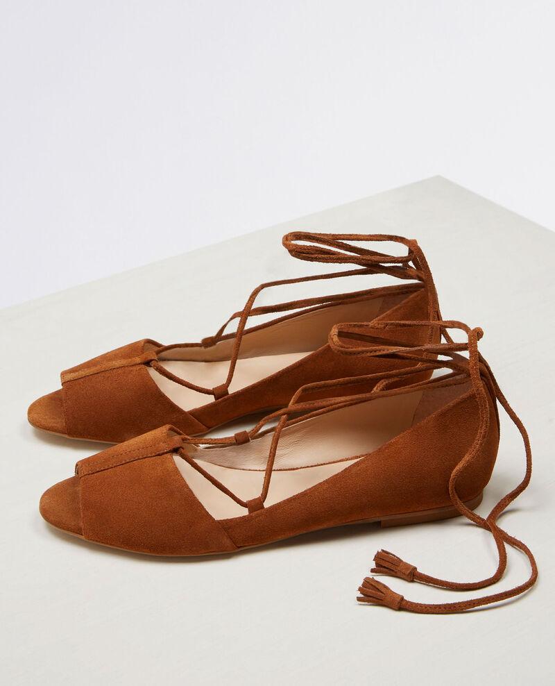 Ballerine en cuir velours avec bout ouvert et lacets Platane - Cabaret | Comptoir des Cotonniers