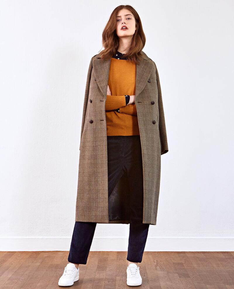 Manteau long en tweed prince de galles Chamois Duplexe