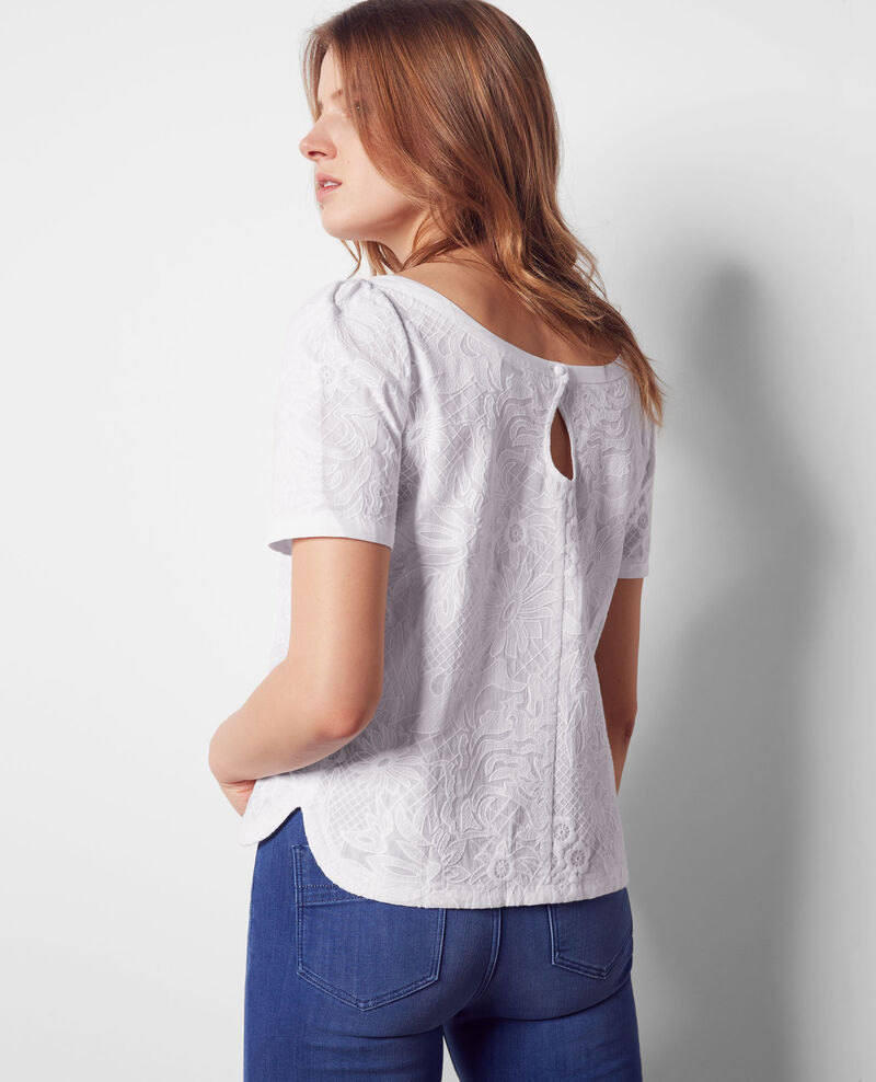 Fully embroidered top Blanc Cacaotier