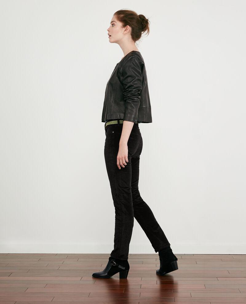 Pantalon cigarette en velours stretch Noir Decharpe
