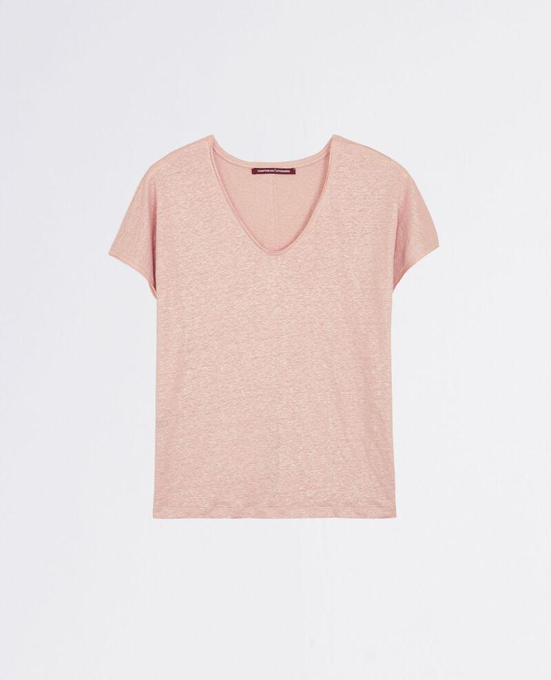 T-Shirt en lin scintillant avec détail lurex Peach City