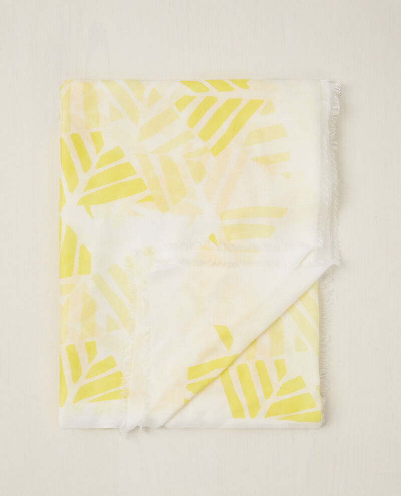 Square print scarf Banana leaves Carambole