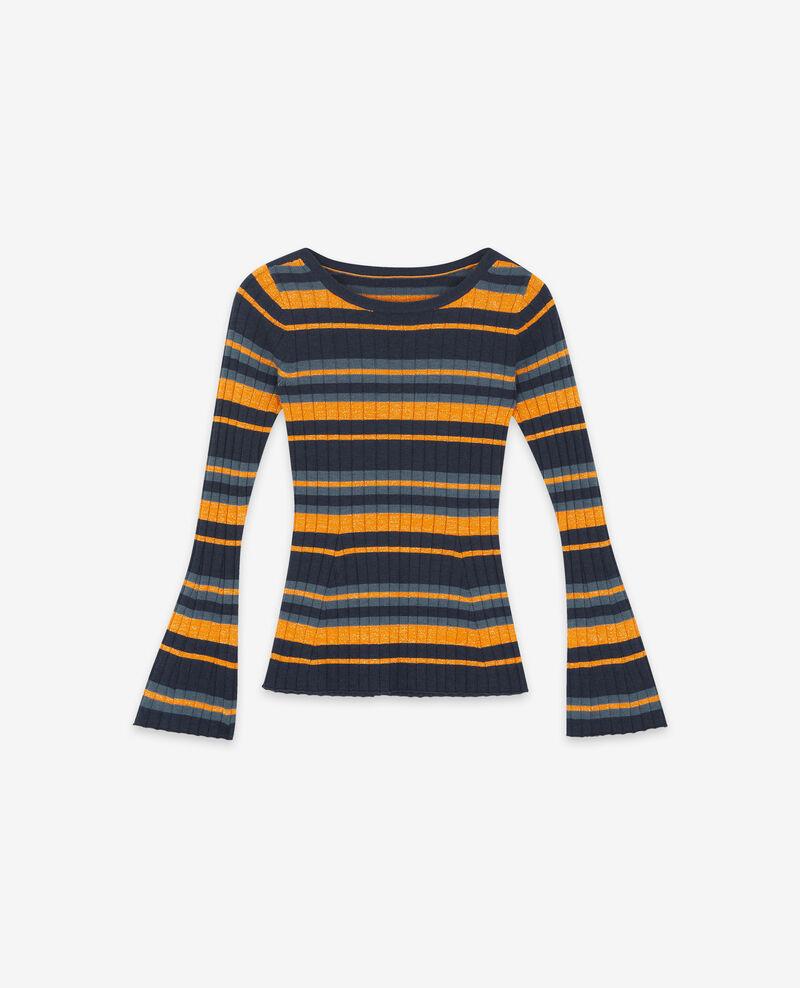 Ribbed wool jumper with high shine lurex inlay Deep sea/fjord light/curcuma Diademe