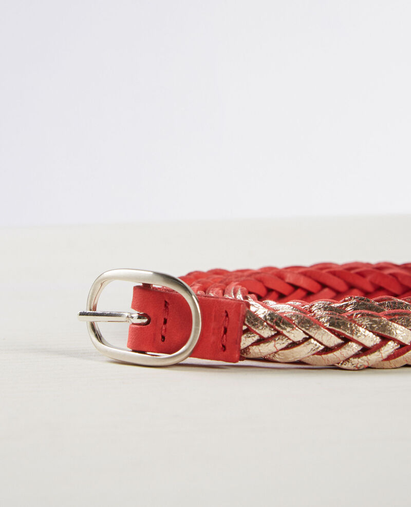 Braided, reversible two-tone leather belt Tomette Clown