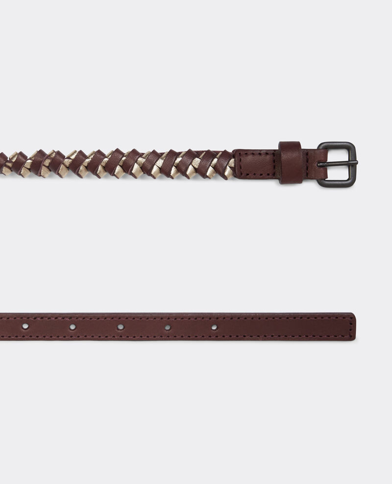 Ceinture double-tour en cuir Maroon/gold Bordillon