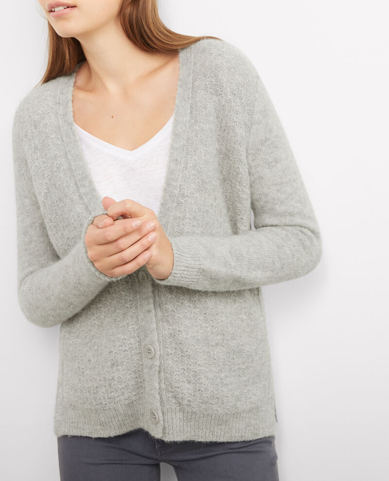 Cardigan en baby alpaga avec détail lurex Light gris chine Boumbo