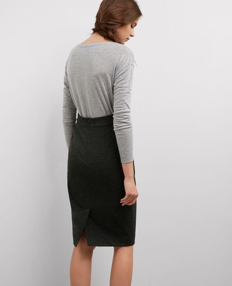 jupe crayon mi longue gris chine beaudelaire comptoir des cotonniers. Black Bedroom Furniture Sets. Home Design Ideas