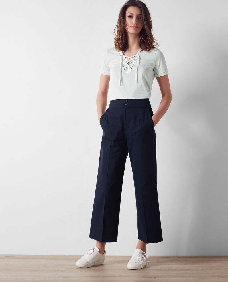 pantalon ample cropped midnight blue calcium comptoir des cotonniers. Black Bedroom Furniture Sets. Home Design Ideas