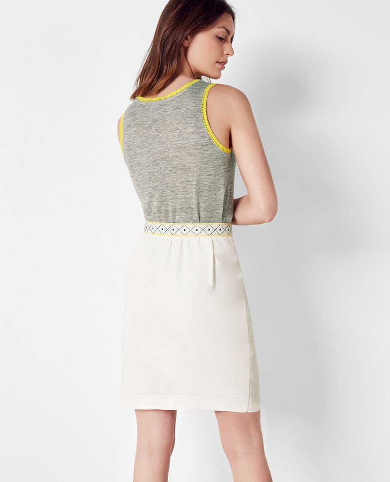Linen tank top with embroidery detail Gris chine/bouton d'or Caraibes