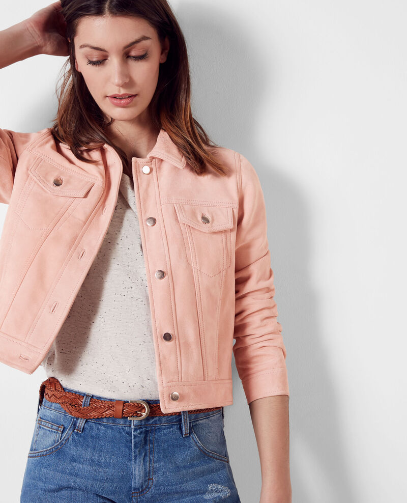 veste courte en daim fa on veste en jeans peach 9cablodaim comptoir des cotonniers. Black Bedroom Furniture Sets. Home Design Ideas