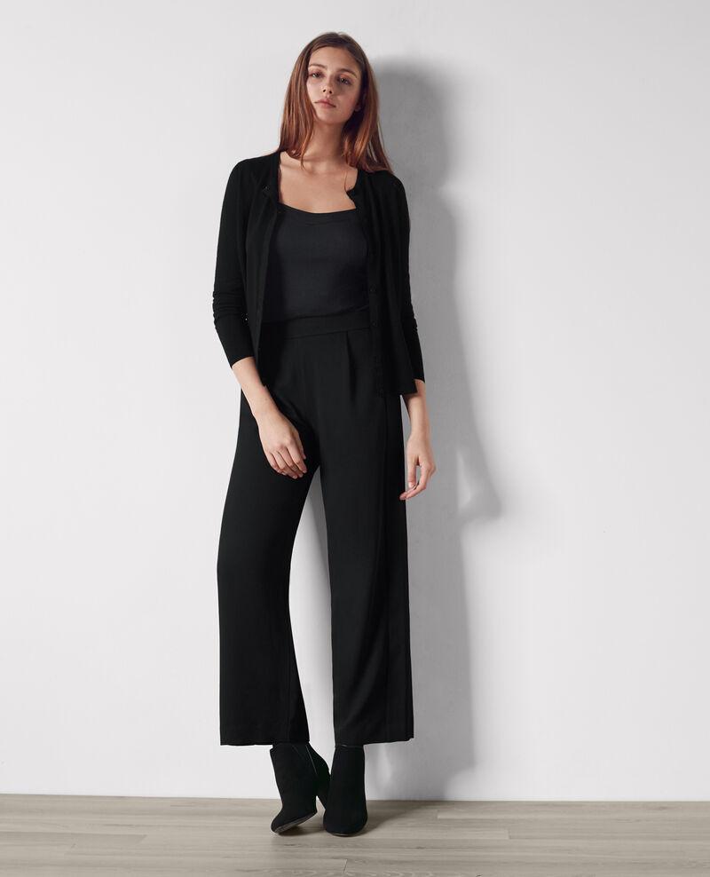 pantalon large fluide en cr pe noir calong comptoir. Black Bedroom Furniture Sets. Home Design Ideas