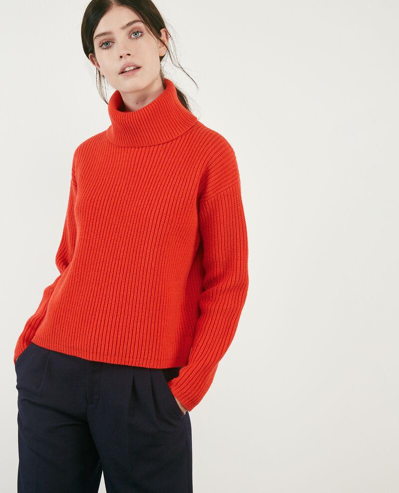 100% wool roll neck jumper Orange red Dacheville