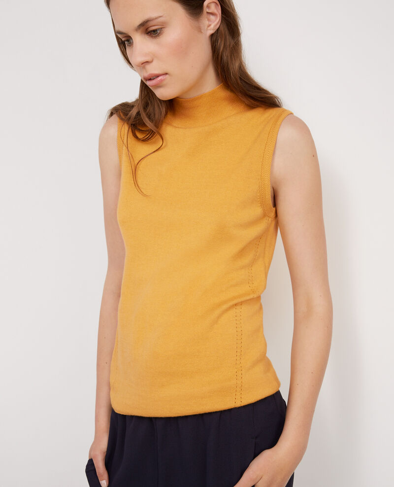 Sleeveless jumper with mock turtleneck collar light safron for Sleeveless mock turtleneck shirts