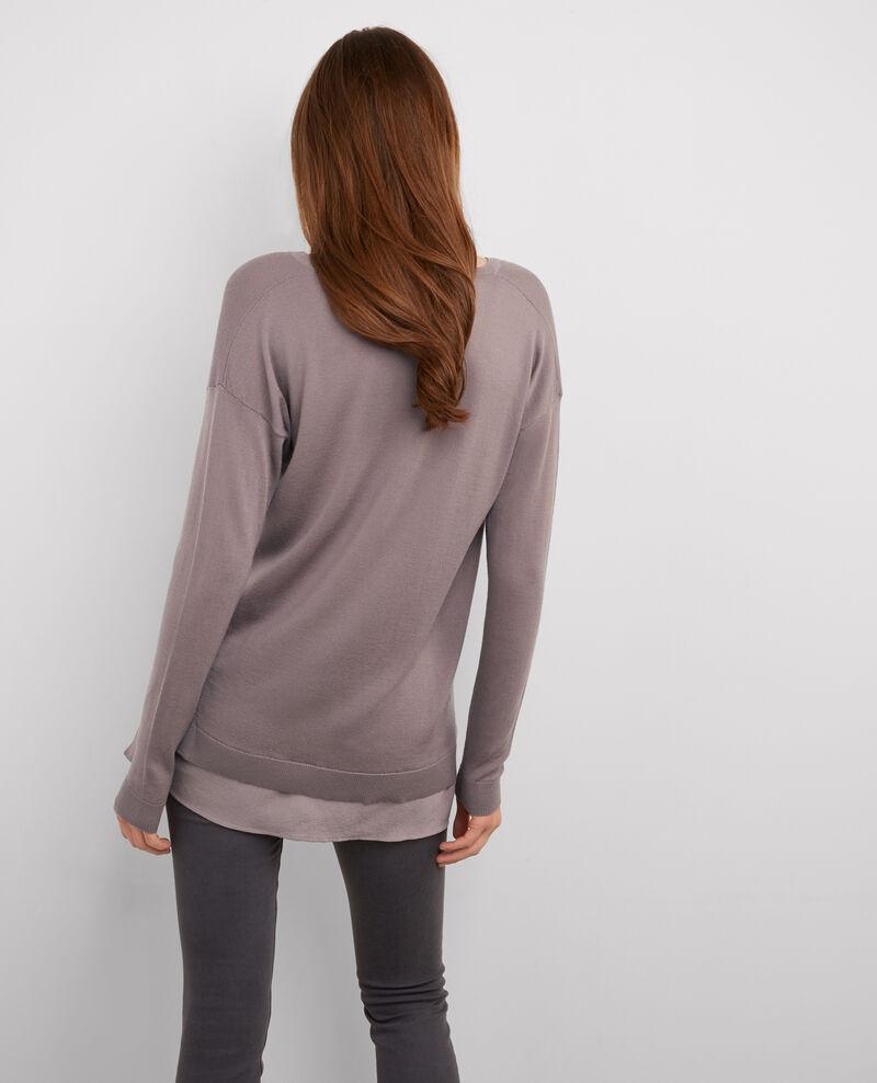 Jersey amplio de dos tejidos: lana y seda Fawn Belette