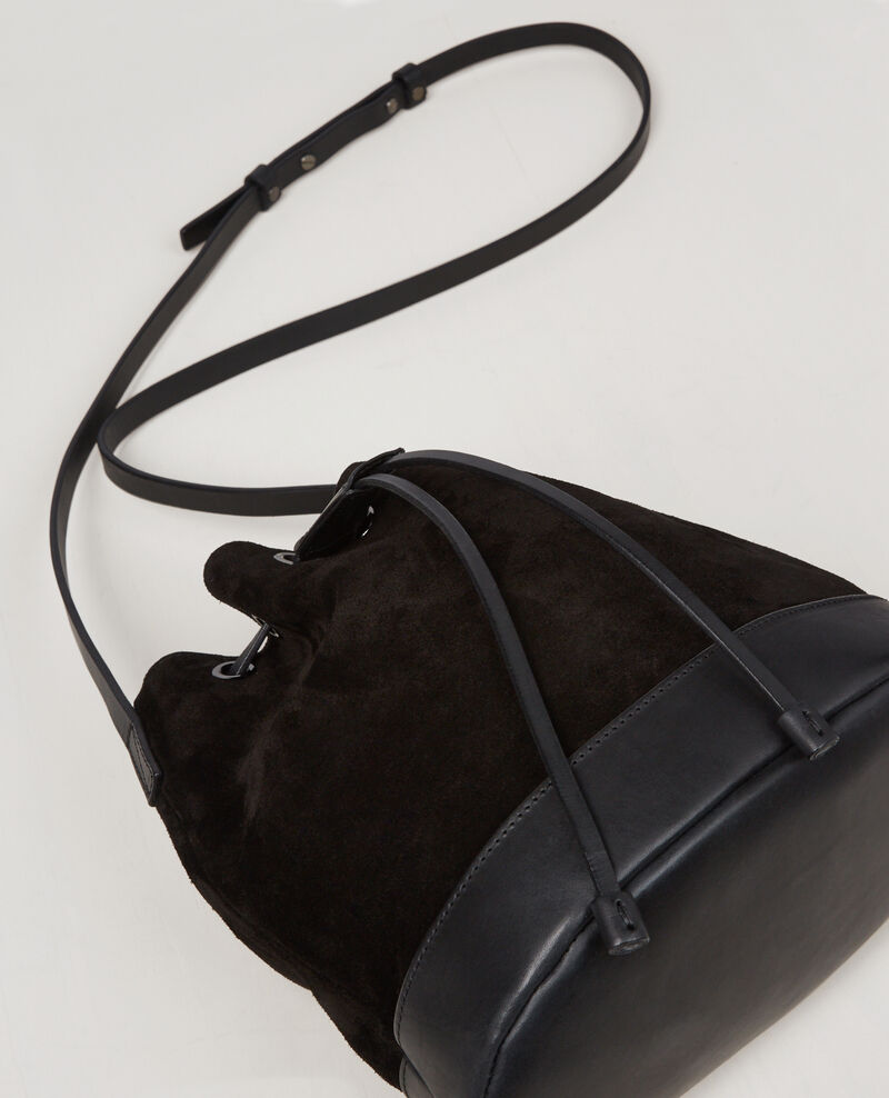 Small suede leather duffel bag Noir Calin