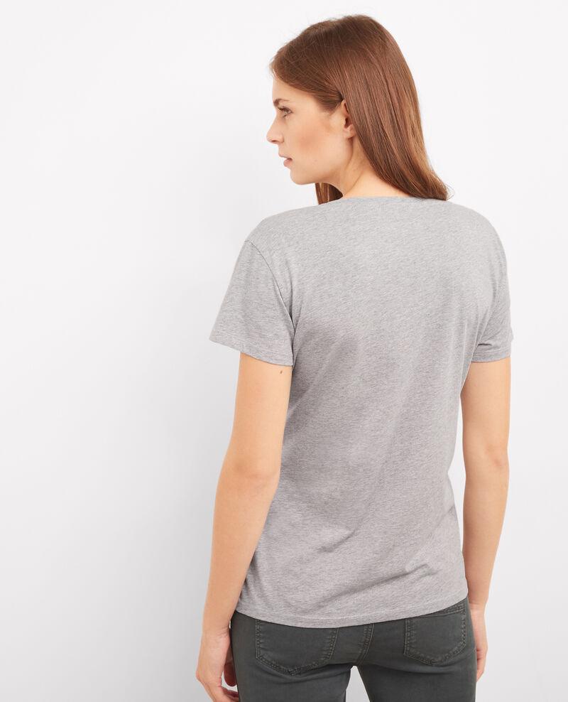 T-shirt à message Gris chine Bright