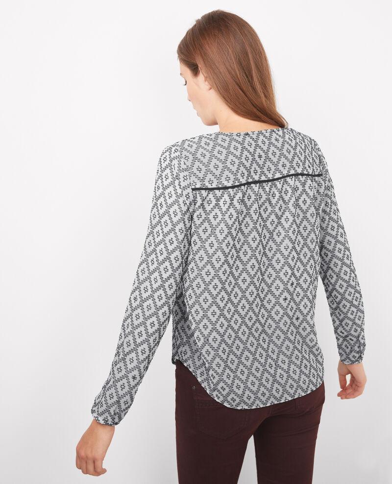 blouse manche longue imprim e black off white boboon comptoir des cotonniers. Black Bedroom Furniture Sets. Home Design Ideas