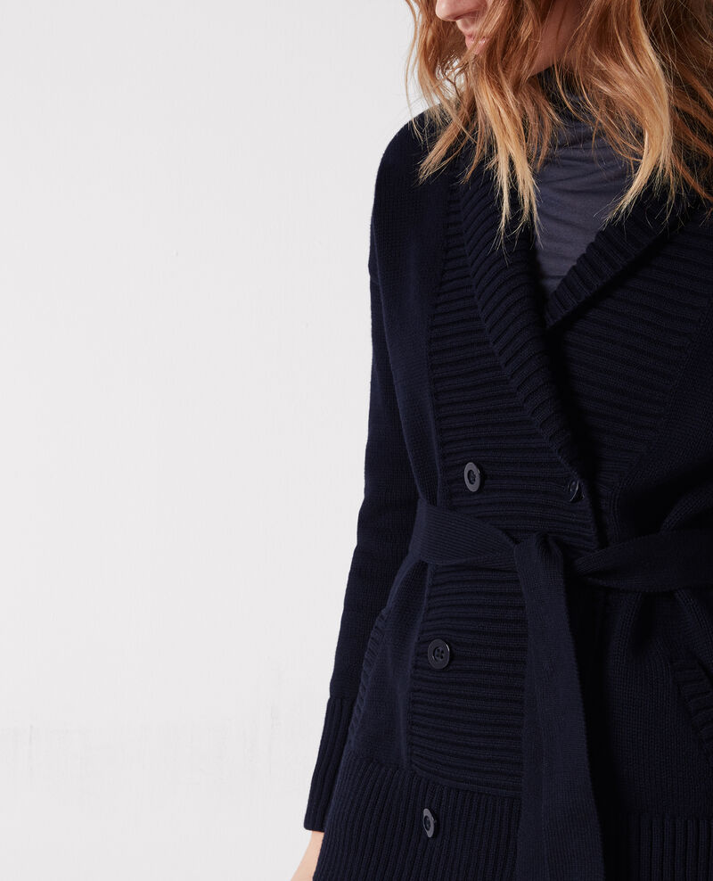 Long cardigan with belt and double buttons Dark navy Cabotin