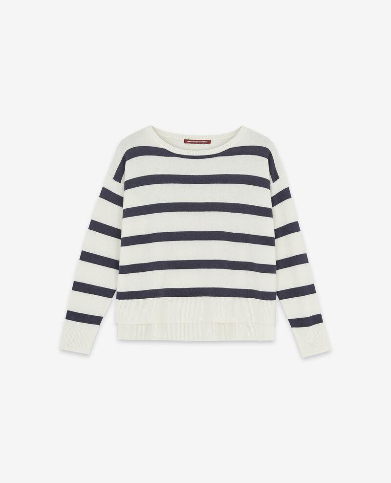 100% cashmere striped jumper Off white/navy Delamer