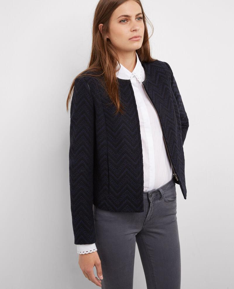 jacquard blazer ohne kragen dark ocean bibacier. Black Bedroom Furniture Sets. Home Design Ideas