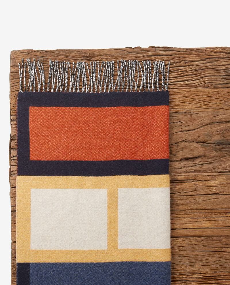 Foulard avec laine Navy/curcuma/rust Dore