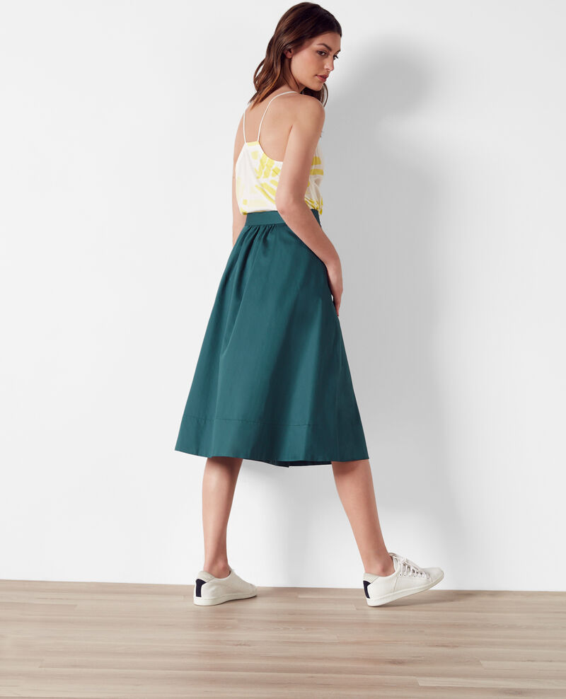 Cotton satin skirt Jungle green Corgeat