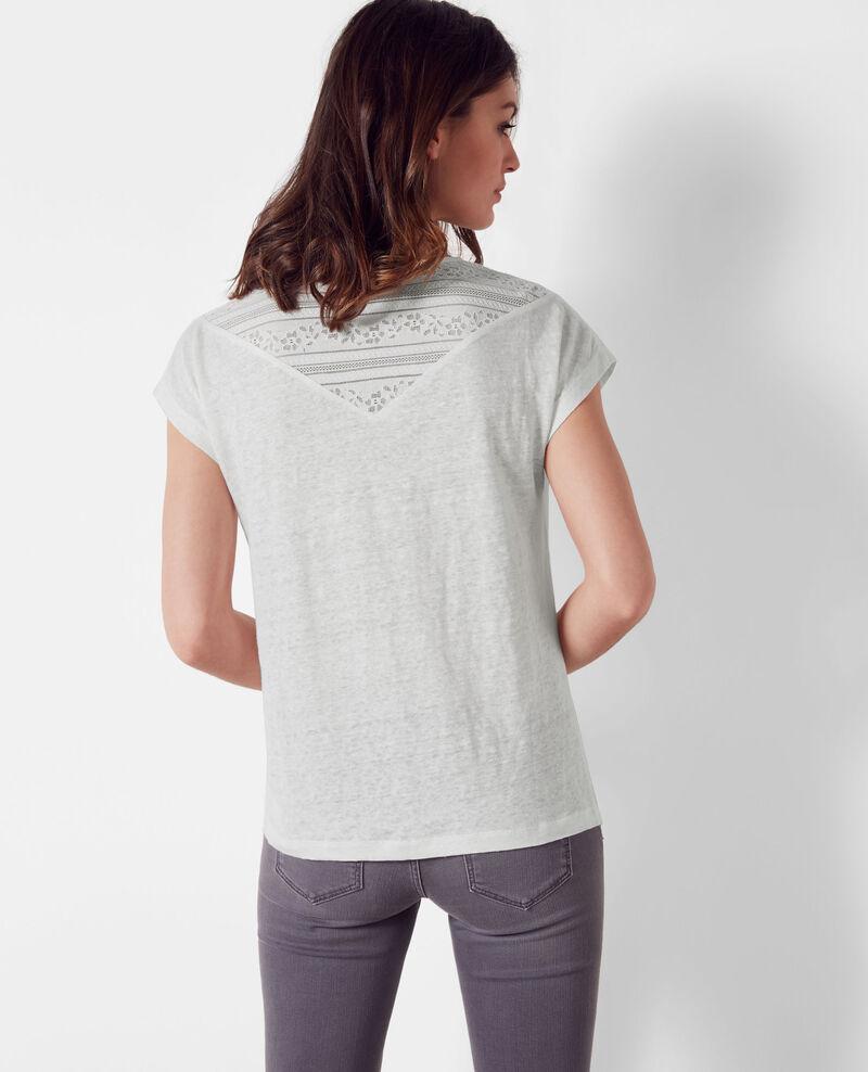 t shirt en lin avec empi cement de dentelle off white. Black Bedroom Furniture Sets. Home Design Ideas