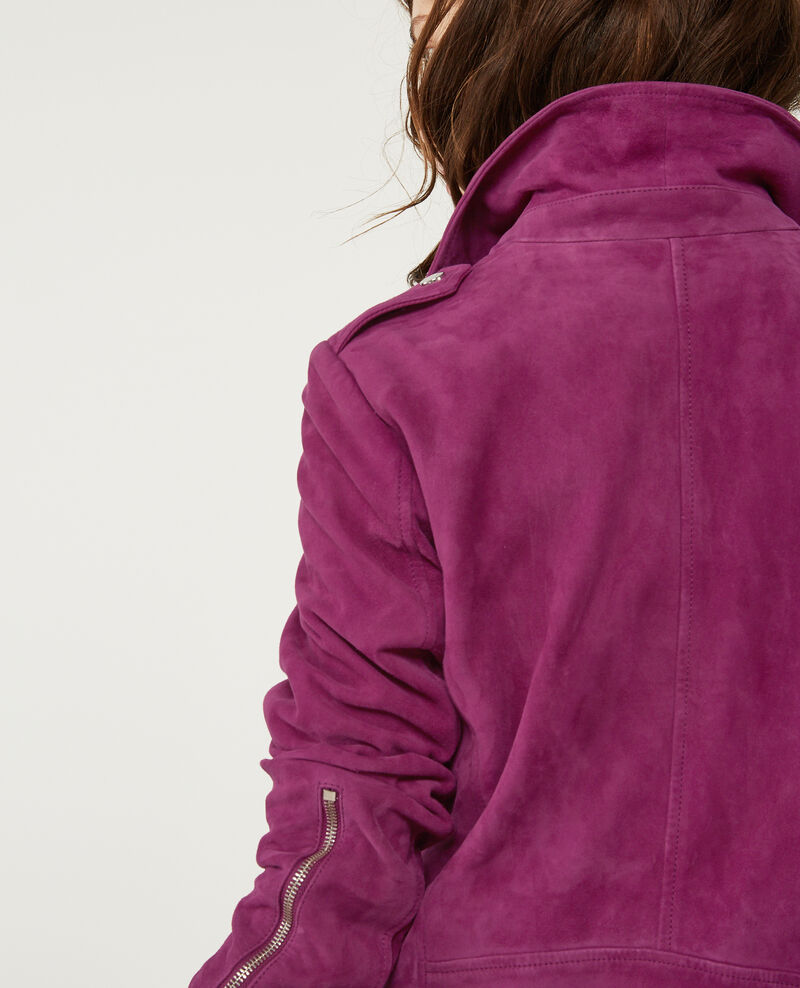 Suede leather jacket Dark peony Decane