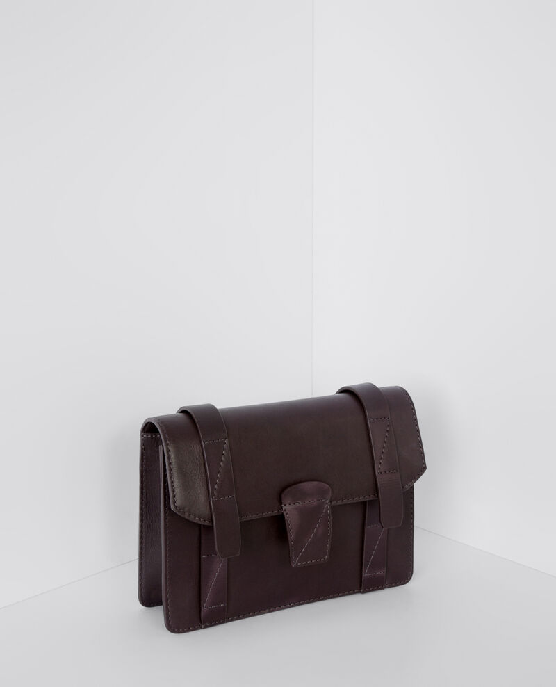 Mini cartable en cuir Maroon Baindeminuit