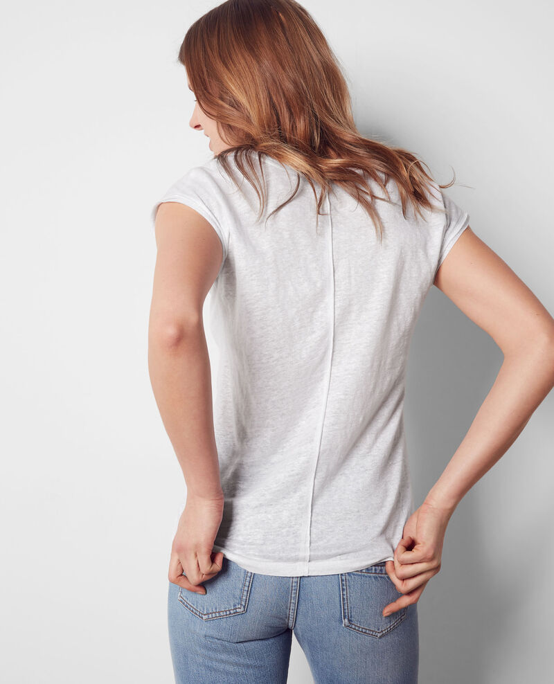Schimmerndes Leinen-T-Shirt Blanc Citron