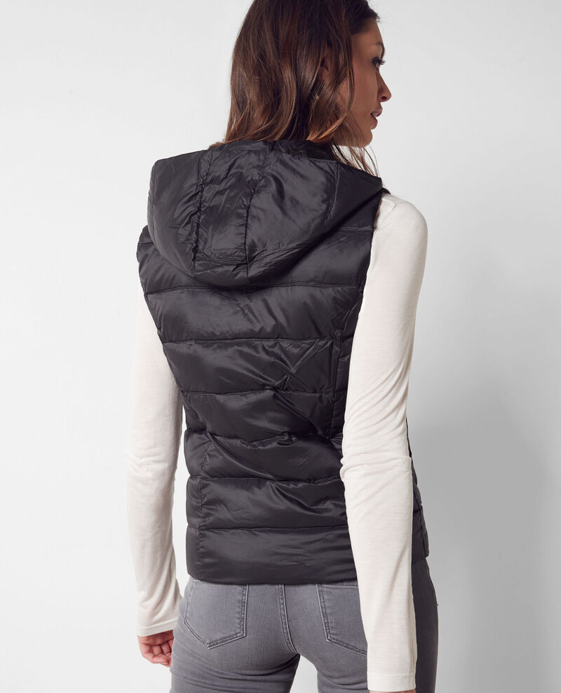 Reversible down vest with removable hood Noir/noir Bastoche