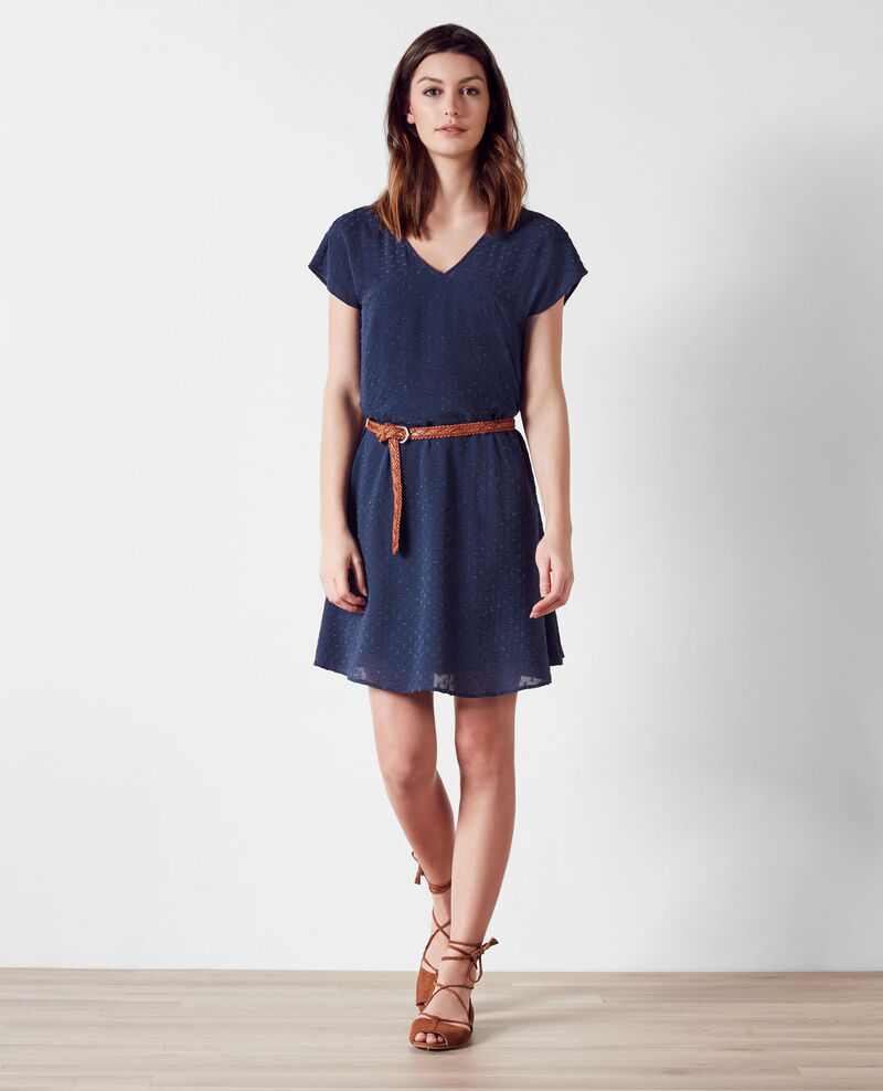 Robe ample en voile plumetis Ink blue Ciflocka