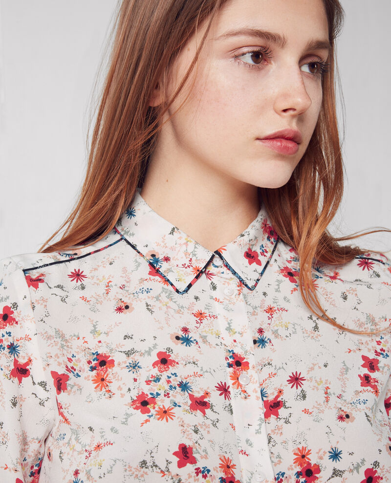 Camisa de seda estampada Bouquet leaves seashell Chifoumi