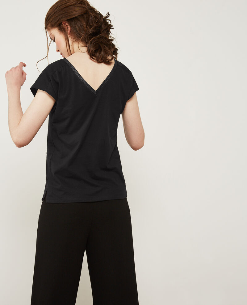 T-shirt with detail lurex inlay Noir Dactylo