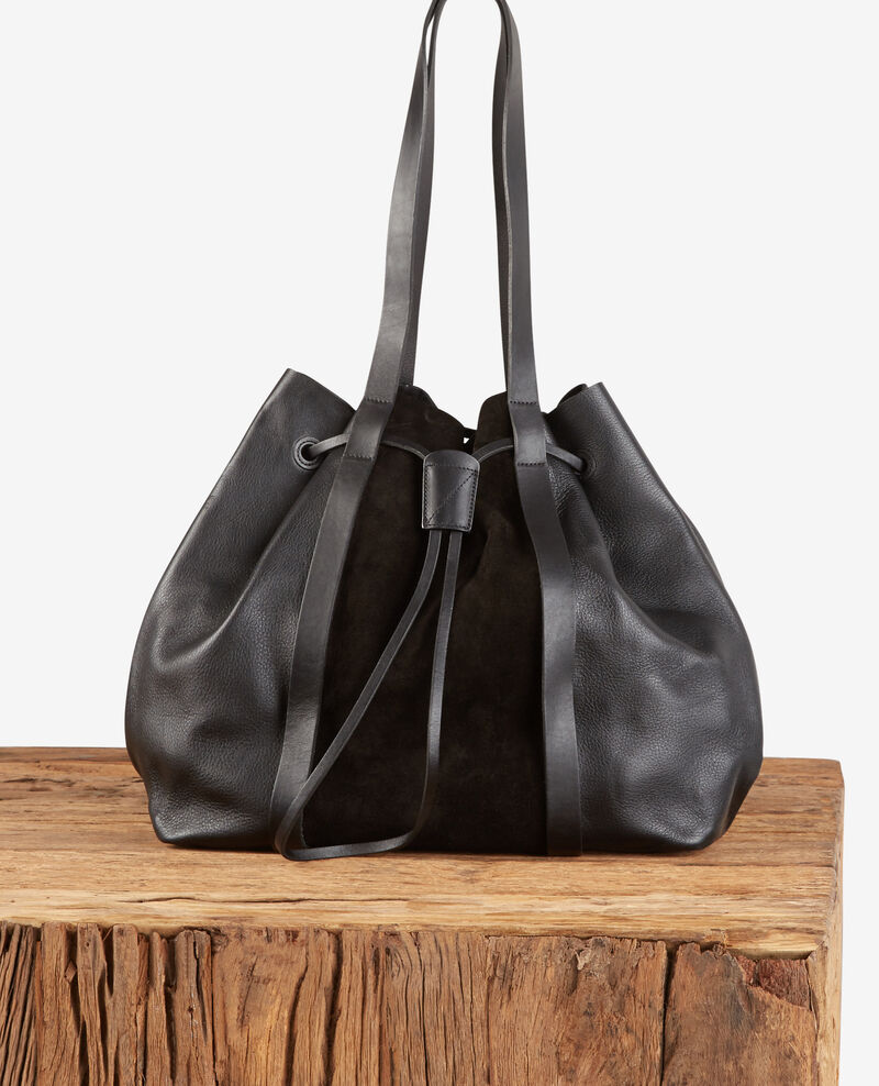 Leather blend shopper Noir Debut