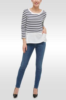 T-shirt bi-matières mix rayé et uni, Marine/Ecru