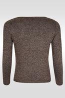 Trui opengewerkt metallic tricot, Brons