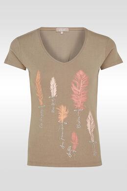 T-shirt en coton print plumes, Taupe