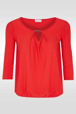 T-shirt 3/4-mouwen, druppelhals, juweel, Rood