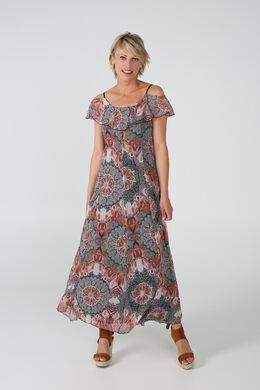 Lange jurk in bedrukte voile, Terracotta