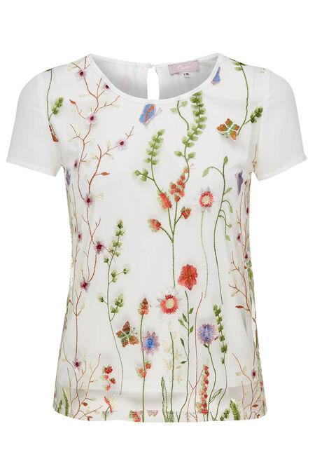 T-shirt 2-in-1 met borduurwerk - Ecru