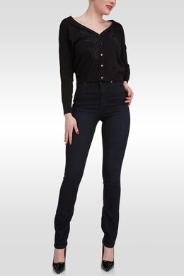 Jeans extralong détail de strass, Dark denim