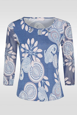 T-shirt en maille fluide, Bleu
