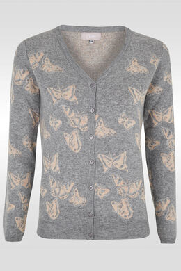 Cardigan met vlinders en V-kraag, Parelgrijs