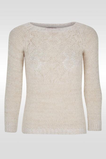 Zachte trui in opengewerkt tricot - Ecru